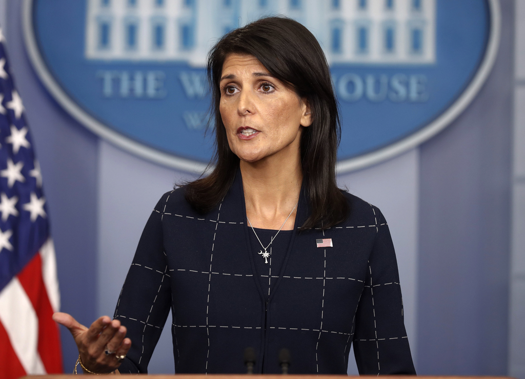 In this photo taken April 24, 2017, U.S. Ambassador to the UN Nikki Haley speaks to the media in the Brady Press Briefing Room of the W...