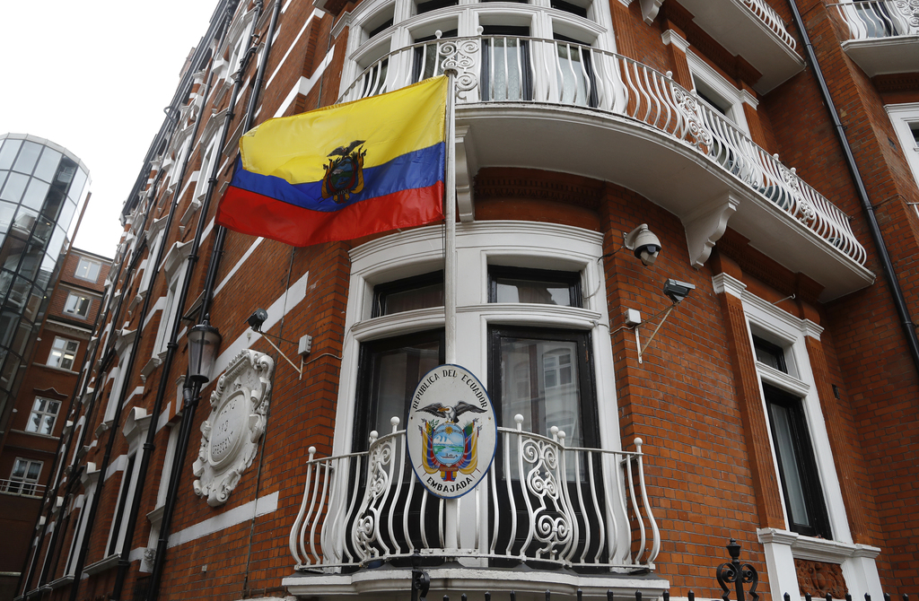 The Ecuadorian national flag flies outside the Ecuadorian embassy in London, Friday May 19, 2017. Sweden's top prosecutor says she is d...