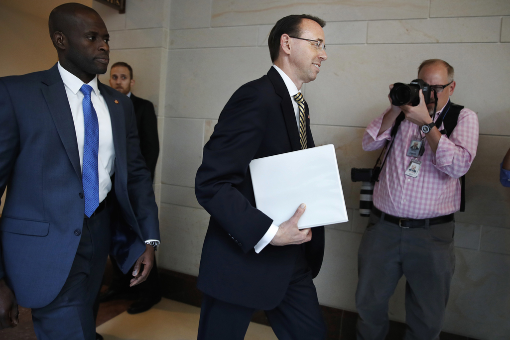 Deputy Attorney General Rod Rosenstein arrives on Capitol Hill in Washington, Thursday, May 18, 2017, for a closed-door meeting with Se...