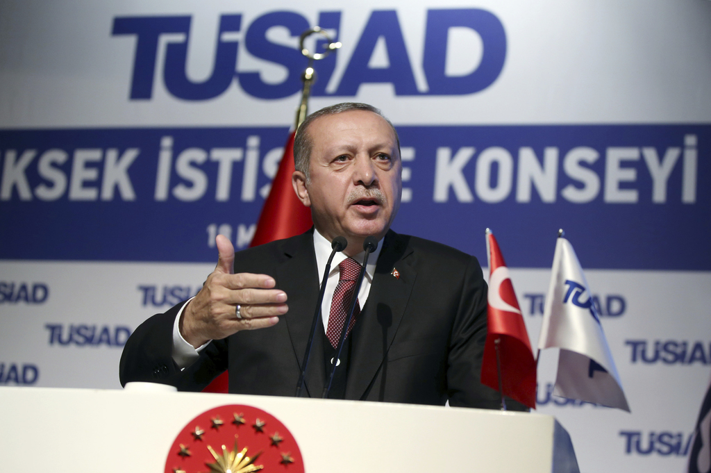 Turkey's President Recep Tayyip Erdogan addresses a business meeting in Istanbul, Thursday, May 18, 2017. Turkey has told the United St...