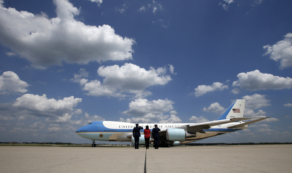 Air Force One with President Donald Trump aboard, taxis for takeoff at Andrews Air Force Base, Md., Friday, May 19, 2017. Trump is depa...