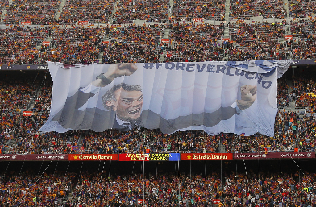 A giant banner of the FC Barcelona's coach Luis Enrique is displayed prior of the Spanish La Liga soccer match between FC Barcelona and...