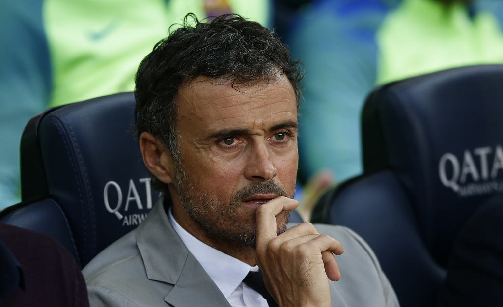 FC Barcelona's coach Luis Enrique looks on prior to the Spanish La Liga soccer match between FC Barcelona and Eibar at the Camp Nou sta...