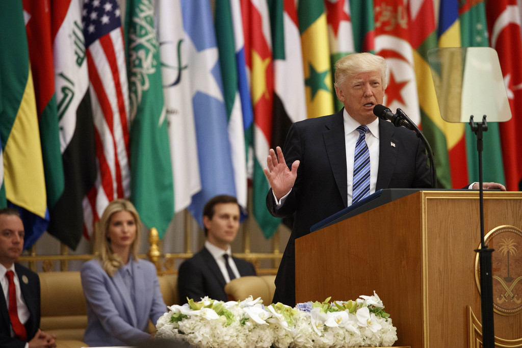 President Donald Trump delivers a speech to the Arab Islamic American Summit, at the King Abdulaziz Conference Center, Sunday, May 21, ...