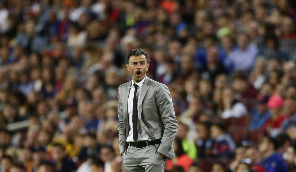 FC Barcelona's coach Luis Enrique shouts instructions during the Spanish La Liga soccer match between FC Barcelona and Eibar at the Cam...