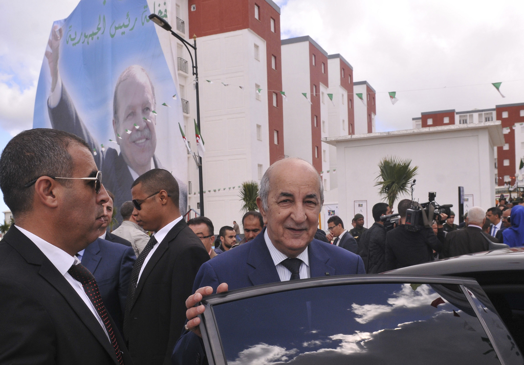 FILE - This April 3, 2017 file photo shows then Housing and Urban Affairs minister Abdelmadjid Tebboune in Algiers. Algeria's presidenc...