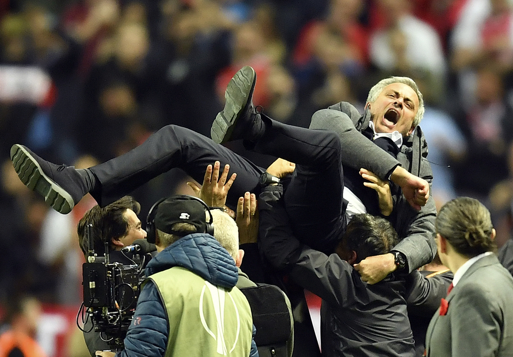 United manager Jose Mourinho celebrates at the end of the soccer Europa League final between Ajax Amsterdam and Manchester United at