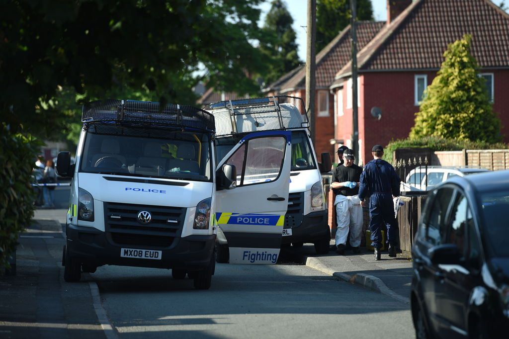 Police activity at an address in Elsmore Road, in connection with the concert blast at the Manchester Arena, in Manchester, England, We...