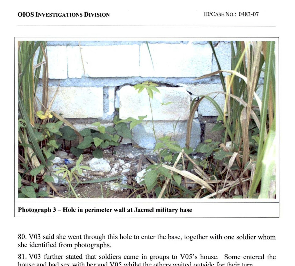 This image made from part of a U.N. internal investigation document dated Nov. 19, 2007 shows a hole in a perimeter wall of the U.N. ba...