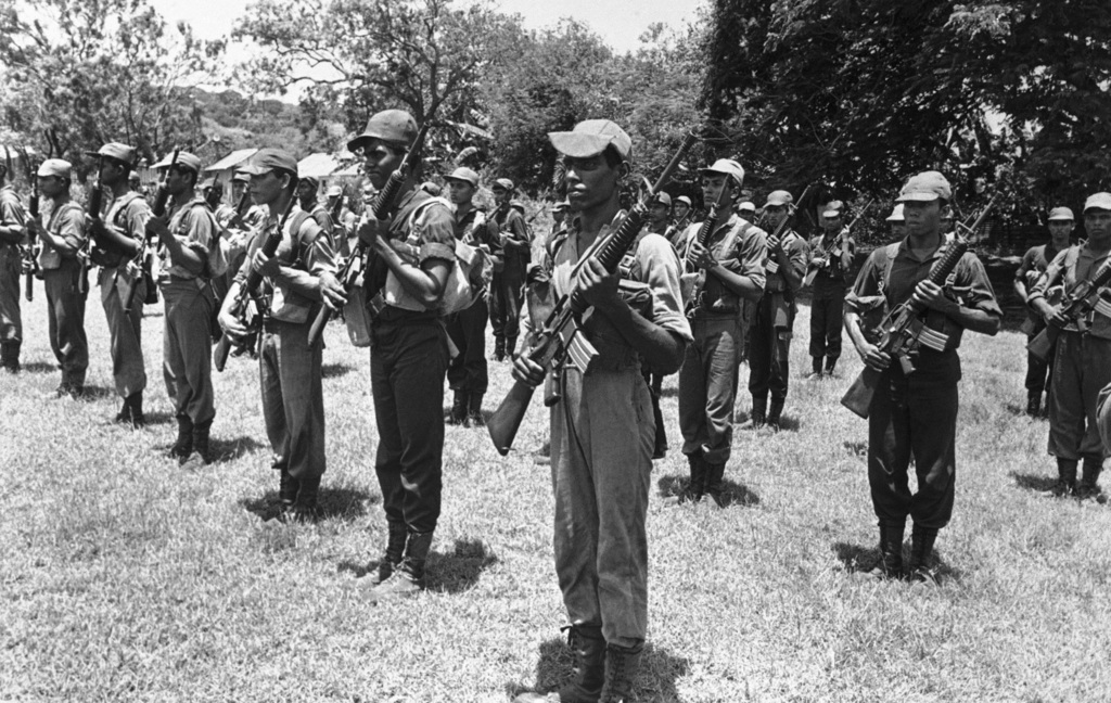 FILE - In this 1986 file photo, Sri Lankan government troops perform a drill practice at a camp in Trincomalee, Sir Lanka. In 1983, civ...