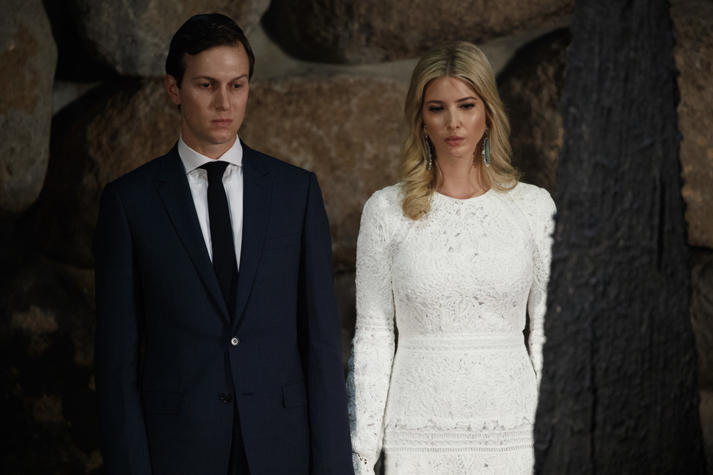 In this May 23, 2017, photo, White House senior adviser Jared Kushner, left, and his wife Ivanka Trump watch during a visit by Presiden...