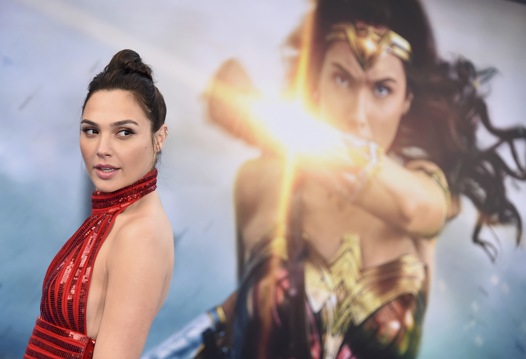"""FILE - In this May 25, 2017 file photo, Gal Gadot arrives at the world premiere of """"Wonder Woman"""" in Los Angeles.  The film grossed $10..."""