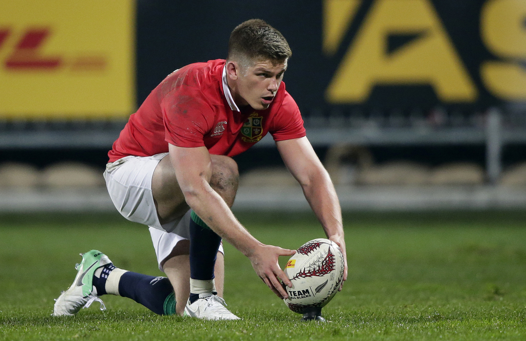 British and Irish Lions flyhalf Owen Farrell prepares to take a shot at goal during their match against the Canterbury Crusaders in Chr