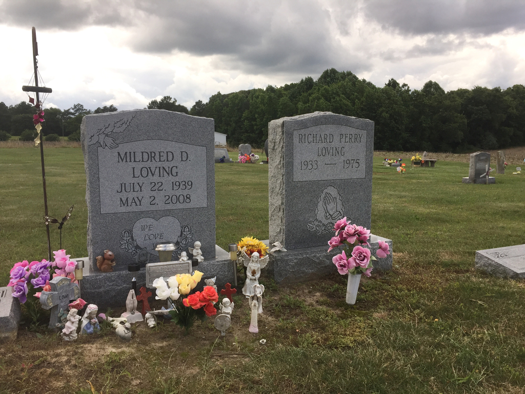 The graves of Richard and Mildred Loving are seen in a rural cemetery near their former home in Caroline County, Virginia, Wednesday, J...
