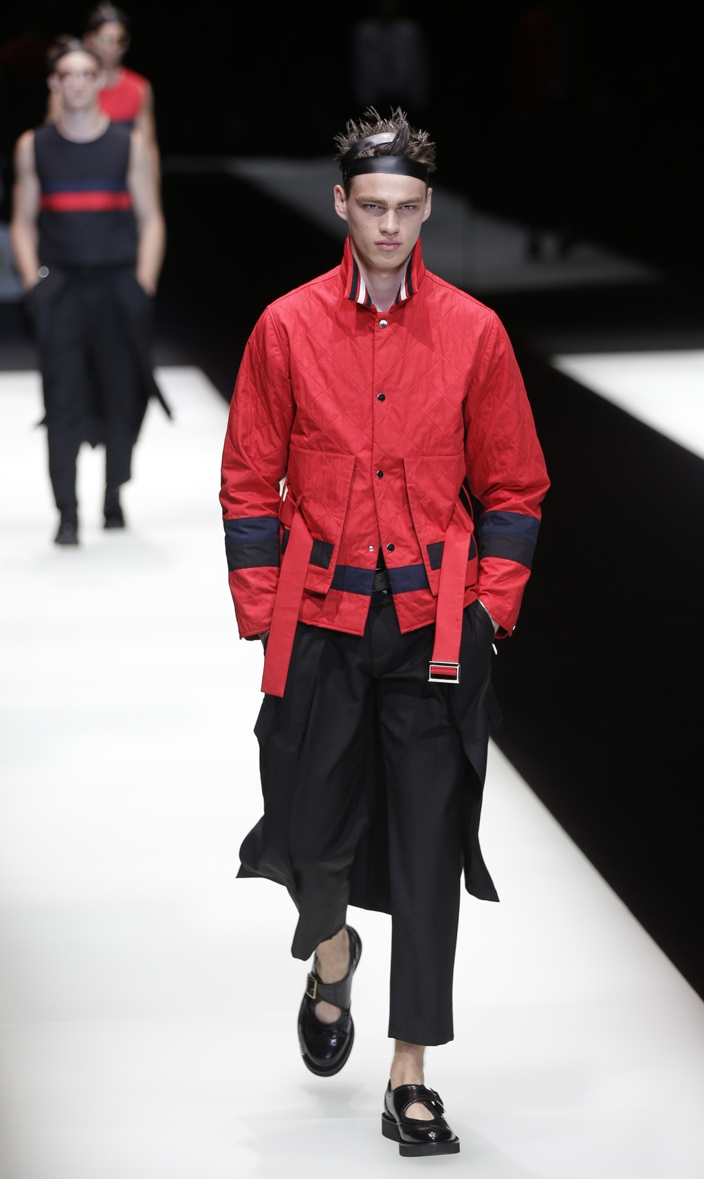 A model wears a creation during the Emporio Armani men's Spring-Summer 2018 collection, in Milan, Italy, Saturday, June 17, 2017. (AP P...