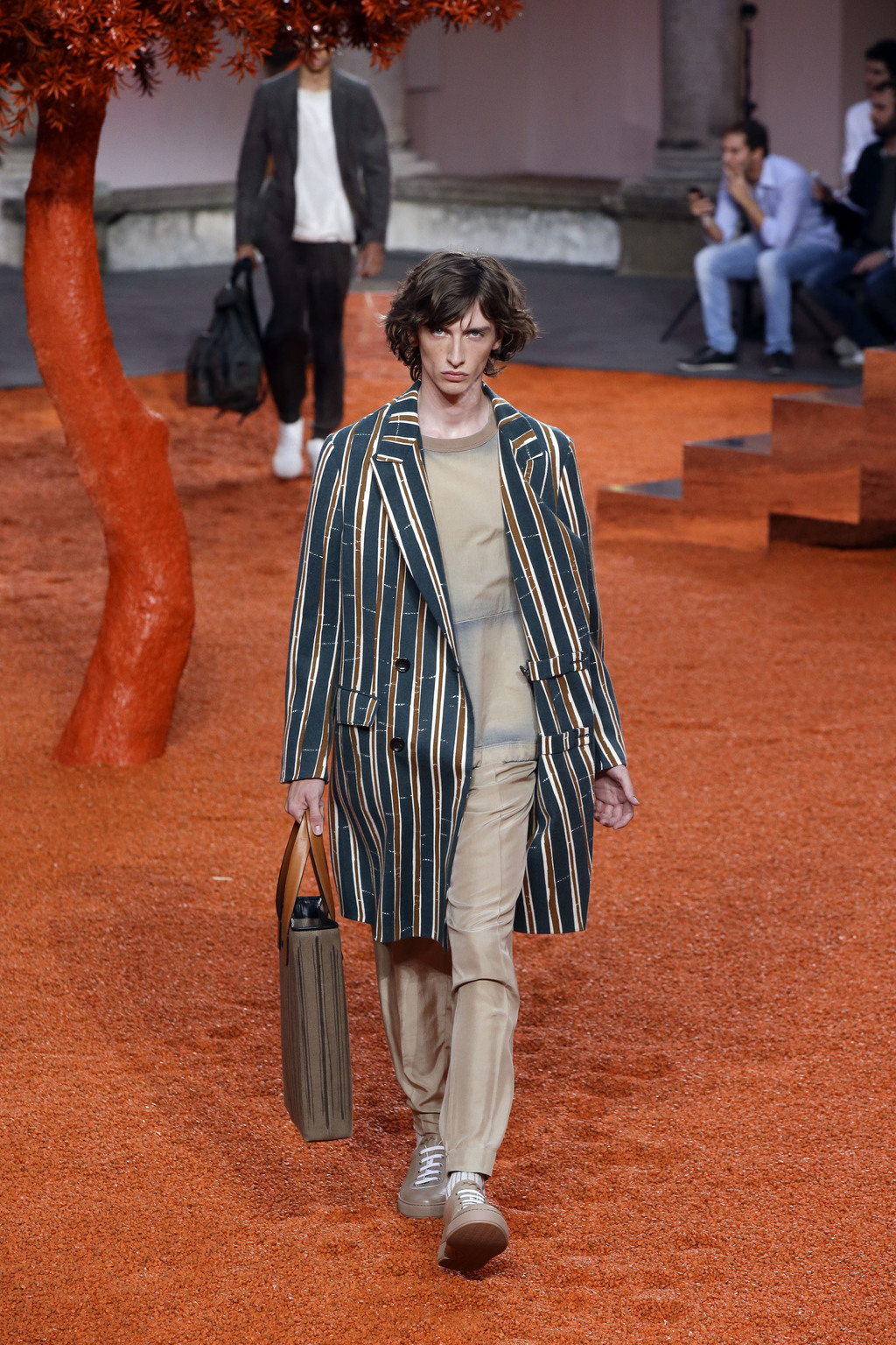 A model wears a creation part of the Ermenegildo Zegna men's Spring-Summer 2018 collection, that was presented in Milan, Italy, Friday,...