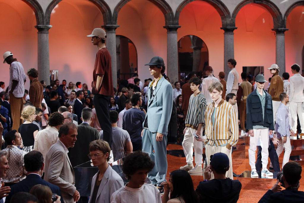 Models wear creations part of the Ermenegildo Zegna men's Spring-Summer 2018 collection, that was presented in Milan, Italy, Friday, Ju...