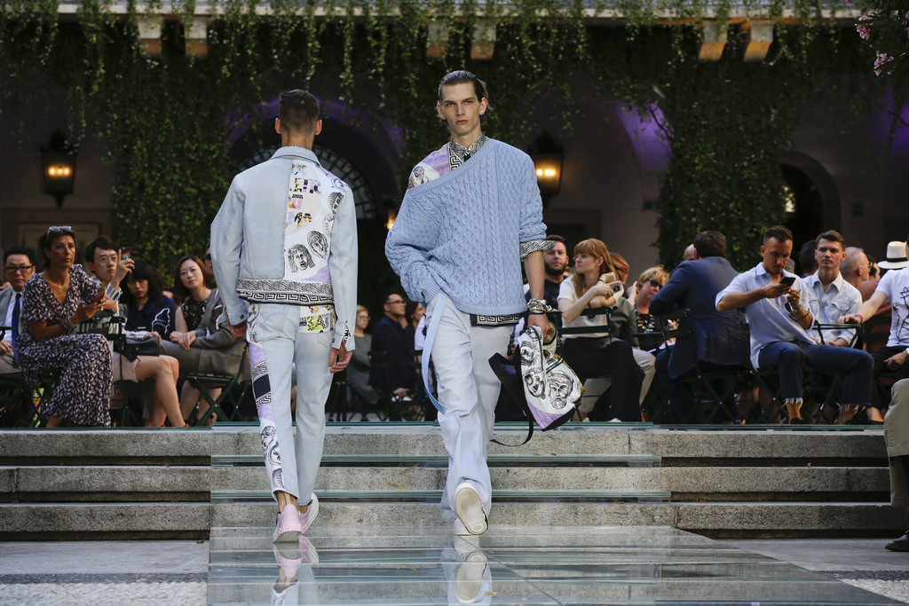 Models wear creations part of the Versace men's Spring-Summer 2018 collection, that was presented in Milan, Italy, Saturday, June 17, 2...