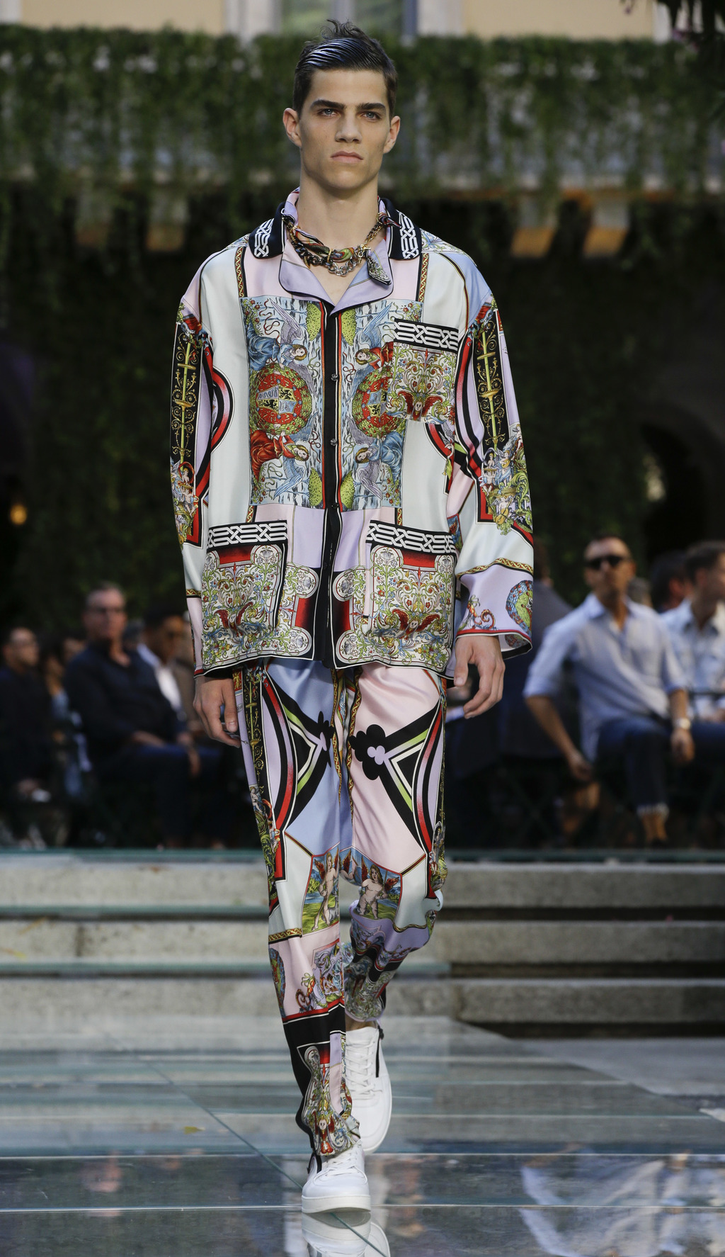 A model wears a creation part of the Versace men's Spring-Summer 2018 collection, that was presented in Milan, Italy, Saturday, June 17...