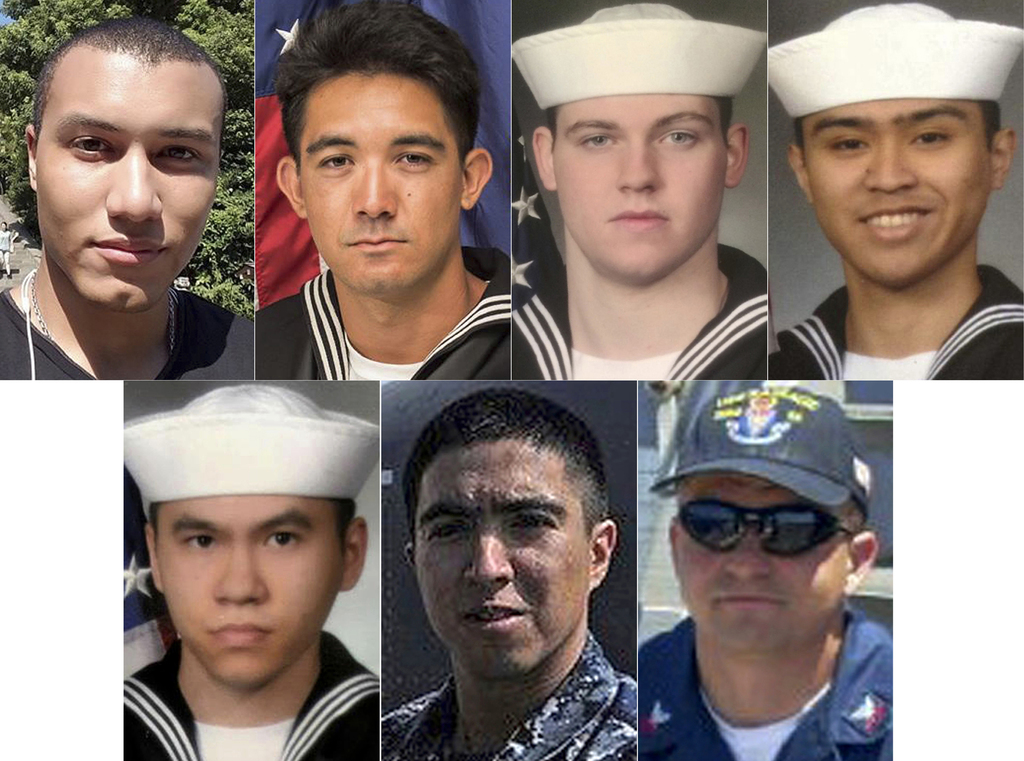 USA sailors who died in destroyer-container ship crash
