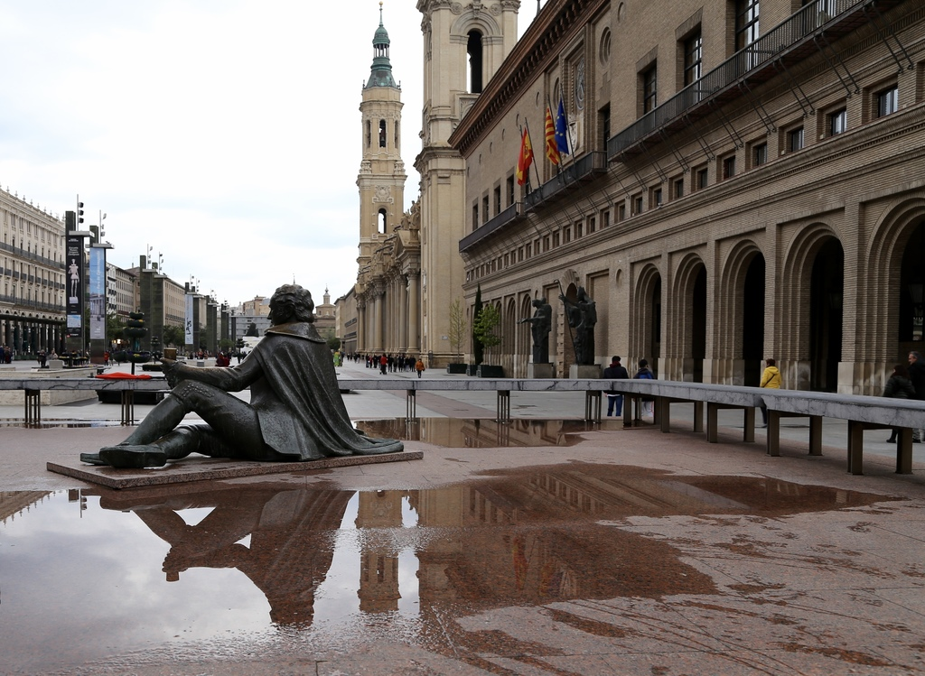 This March 25, 2017 photo shows a statue in Plaza del Pilar in Zaragoza, Spain. The square is the main meeting ground of this city in A...