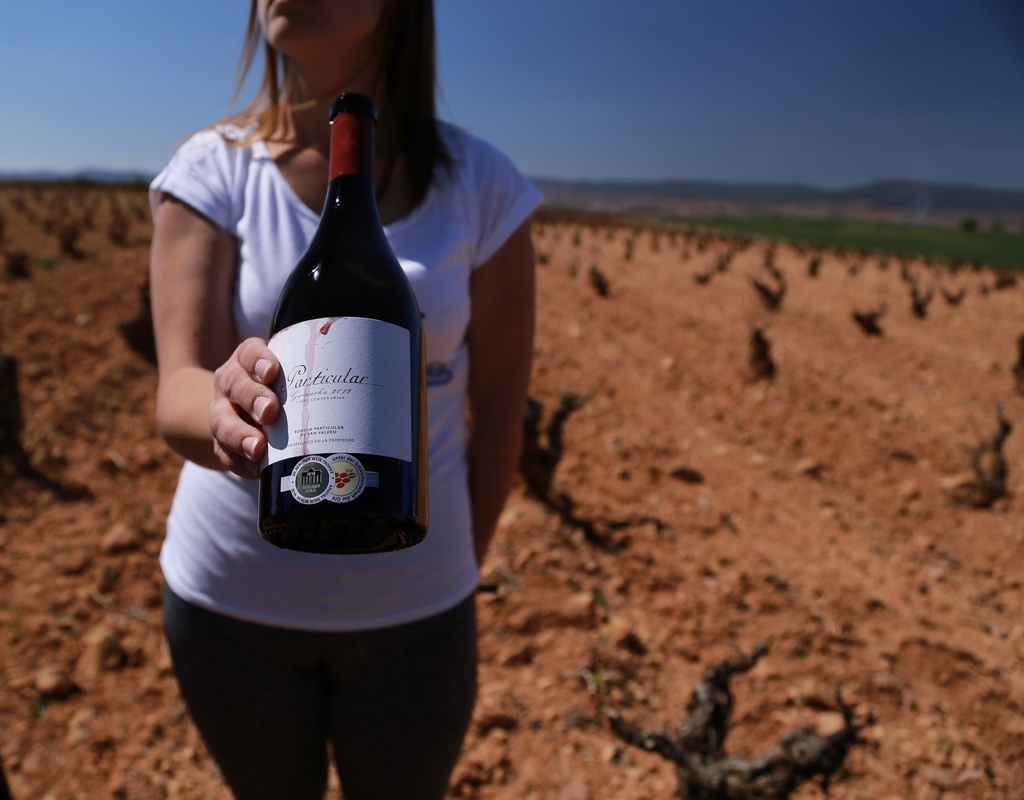 This March 29, 2017 photo shows a viticulturist from the San Valero winery holding a bottle of 2012 garnacha near Aragon, Spain. The Ca...