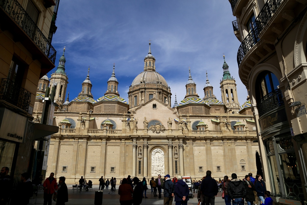This March 26, 2017 photo shows a view of the Cathedral of Our Lady of the Pillar (Basilica del Pilar) from Calle Alfonso in Zaragoza, ...