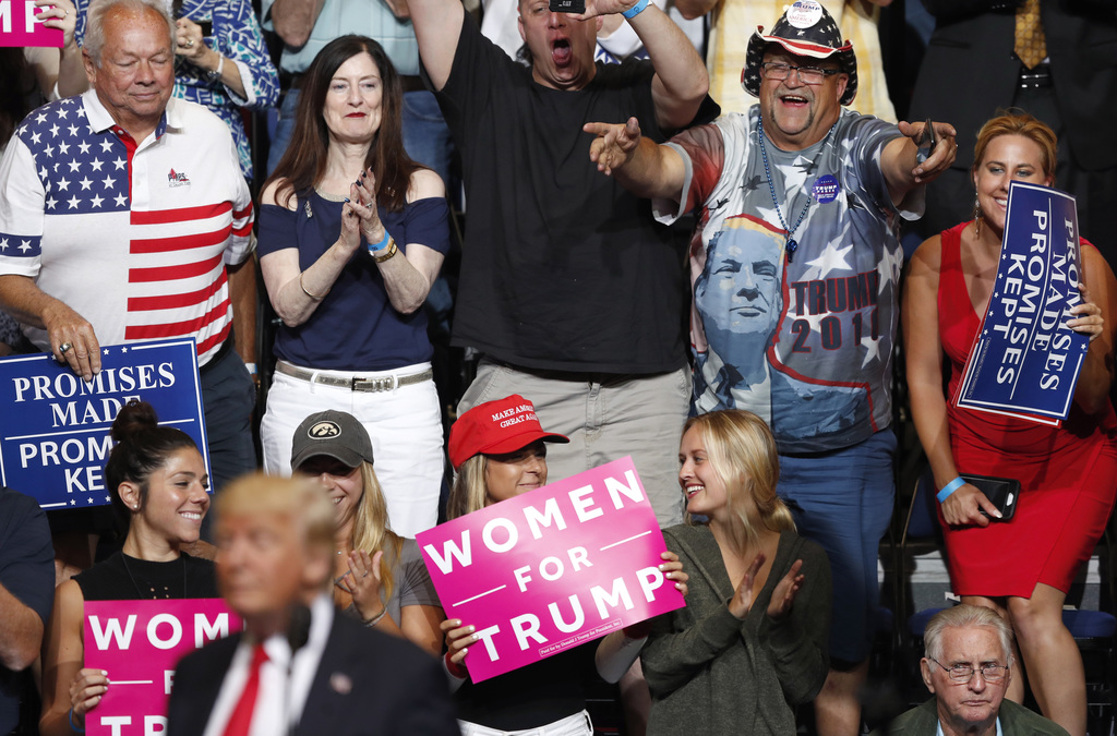 Audience members react as President Donald Trump speaks during a rally, Wednesday, June 21, 2017, in Cedar Rapids, Iowa. (AP Photo/Char...