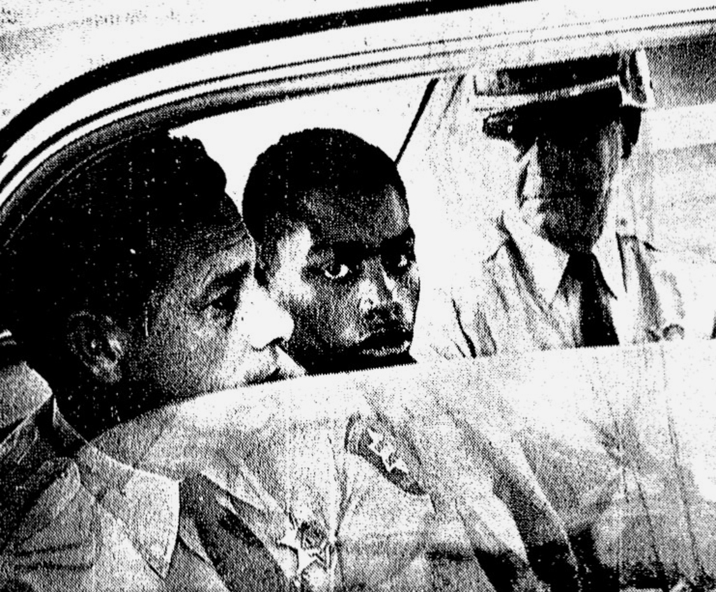ADVANCE FOR USE MONDAY, JULY 31, 2017 AND THEREAFTER-In this February 1964 photo, Henry Montgomery, flanked by two deputies, awaits the verdict in his...