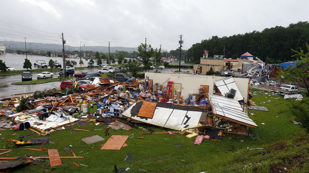 A possible tornado touched down destroying several businesses, Thursday, June 22, 2017, in Fairfield, Ala. Alabama Gov. Kay Ivey says t...