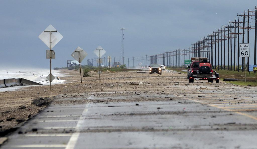 Debris covers TX-87 as a result of Tropical Storm Cindy on Thursday, June 22, 2017, in Bolivar Peninsula, Texas. (Elizabeth Conley/Hous...