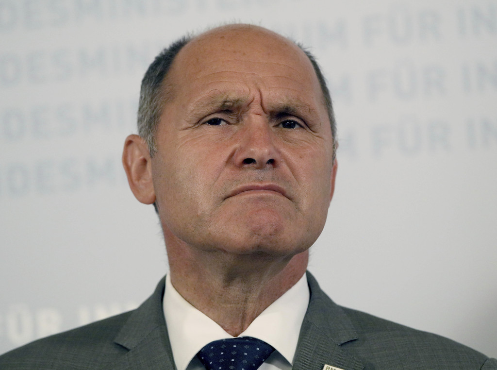 FILE - In this Sept. 12, 2016 file photo Austrian Interior Minister Wolfgang Sobotka attends a press conference in Vienna.  An Austrian...