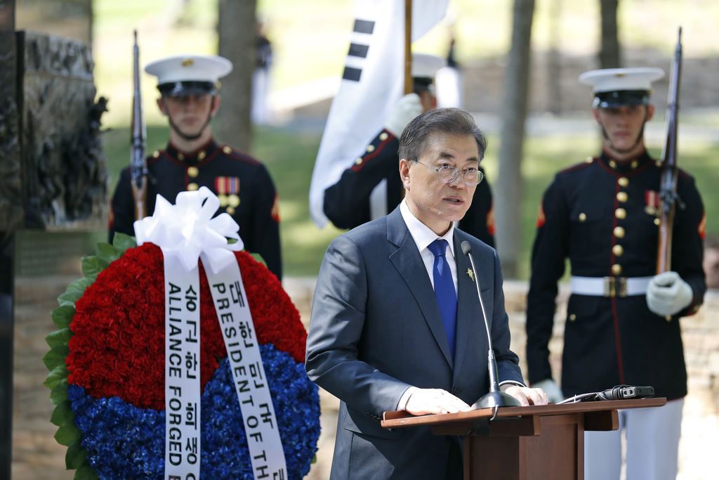 """South Korean President Moon Jae-in speaks in front of the """"Chosin Few Battle Monument,"""" at the National Museum of the Marine Corps, Wed..."""