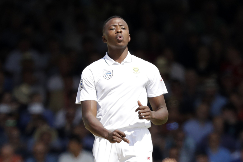 South Africa's Kagiso Rabada reacts after pitching a delivery during the first test between England and South Africa at Lord's cricket