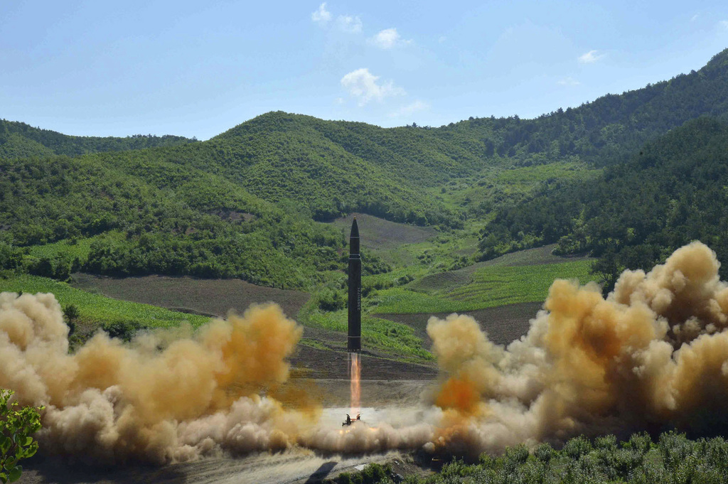2017 distributed by the North Korean government shows what was said to be the launch of a Hwasong-14 inter