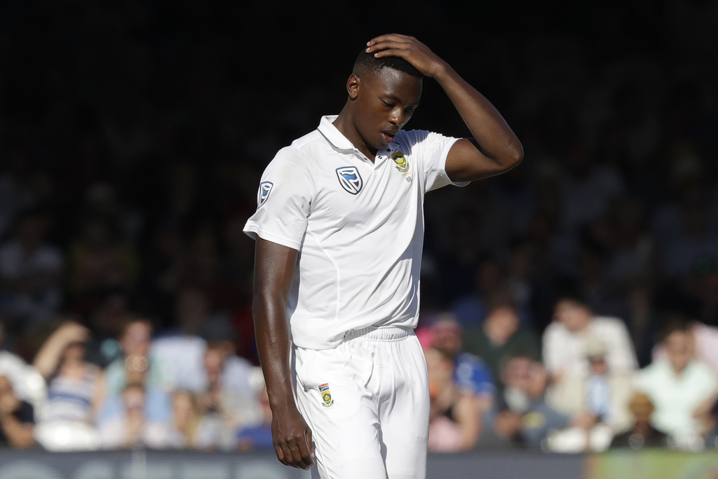 South Africa's Kagiso Rabada reacts in frustration after nearly claiming the wicket of England's Alastair Cook with the ball failing