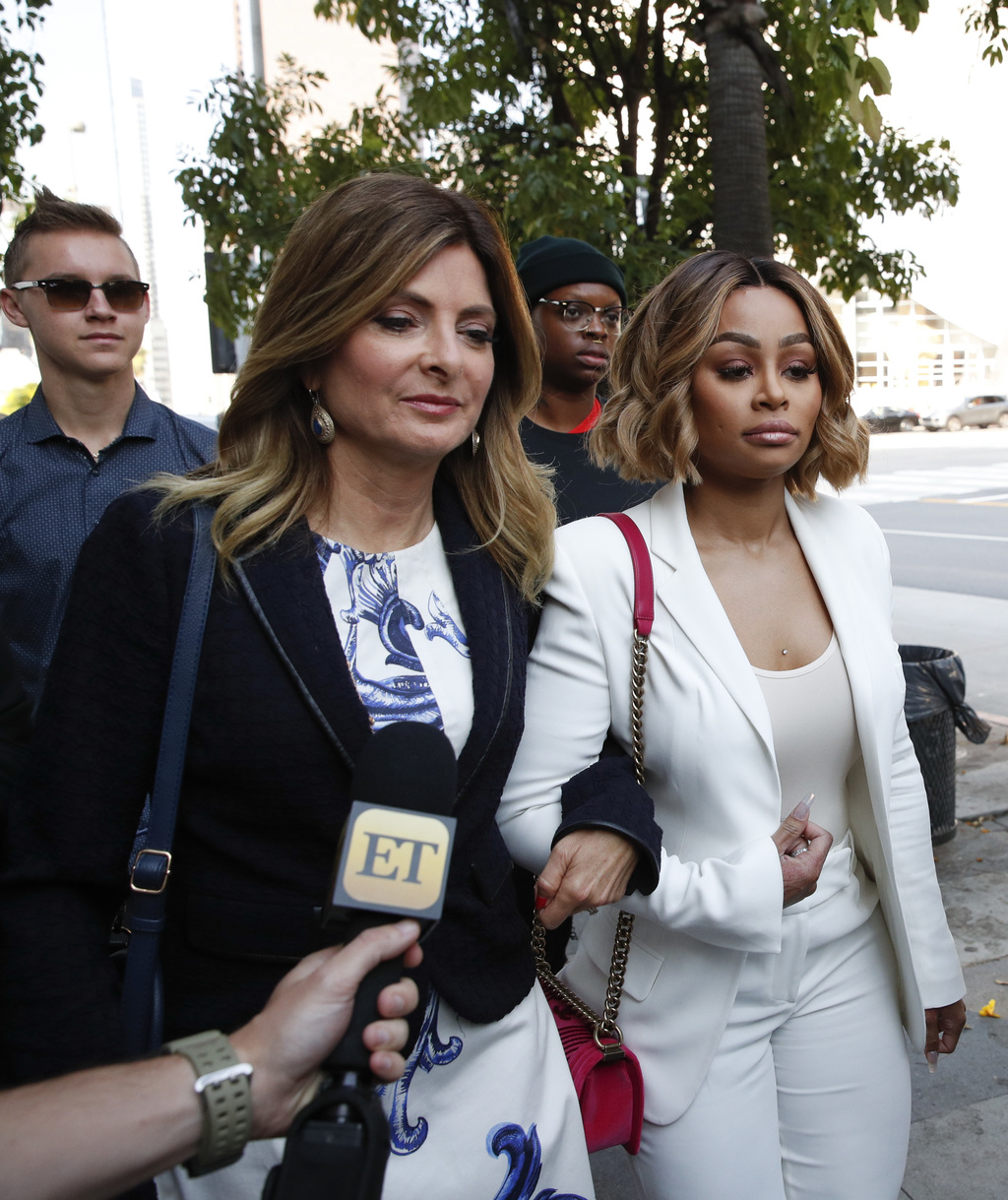 Blac Chyna and her attorney Lisa Bloom left arrive for a hearing seeking a restraining order against her former fiancee Rob Kardashian on Monday Ju