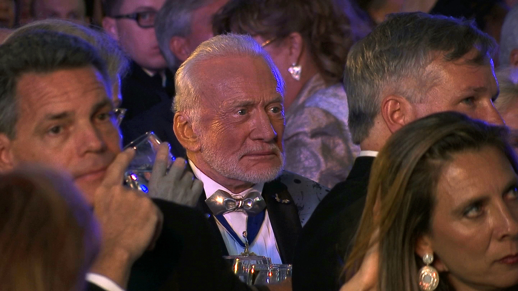 Apollo 11 astronaut Buzz Aldrin attends the commemoration for the upcoming anniversary of the 1969 mission to the moon and a gala for his non-profit s...