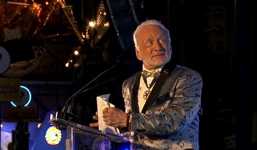 Apollo 11 astronaut Buzz Aldrin speaks at the commemoration for the upcoming anniversary of the 1969 mission to the moon and a gala for his non-profit...