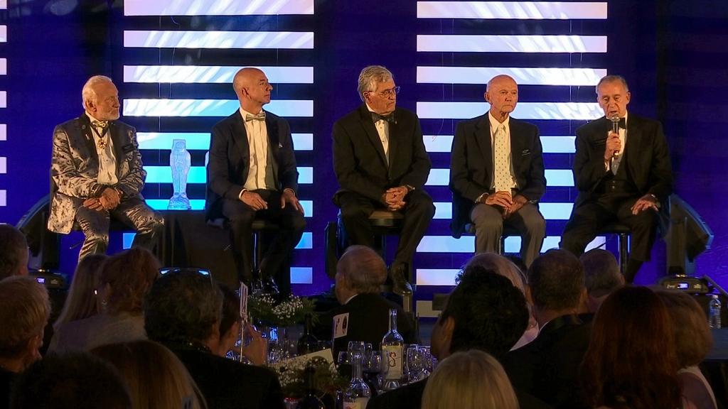 From left to right, Apollo 11 astronaut Buzz Aldrin, Amazon.com and Blue Origins founder Jeff Bezos, Apollo 17 astronaut Harrison Jack Schmitt, and Ap...