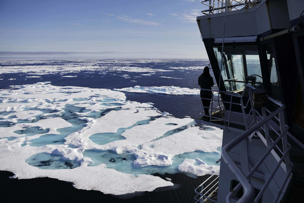 The Finnish icebreaker MSV Nordica sails through ice floating on the Chukchi Sea off the coast of Alaska, Sunday, July 16, 2017, while traversing the ...