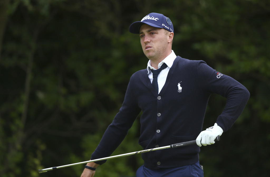 Justin Thomas of the US looks along the 5th fairway during the first round of the British Open Golf Championship, at Royal Birkdale, Southport, Englan...