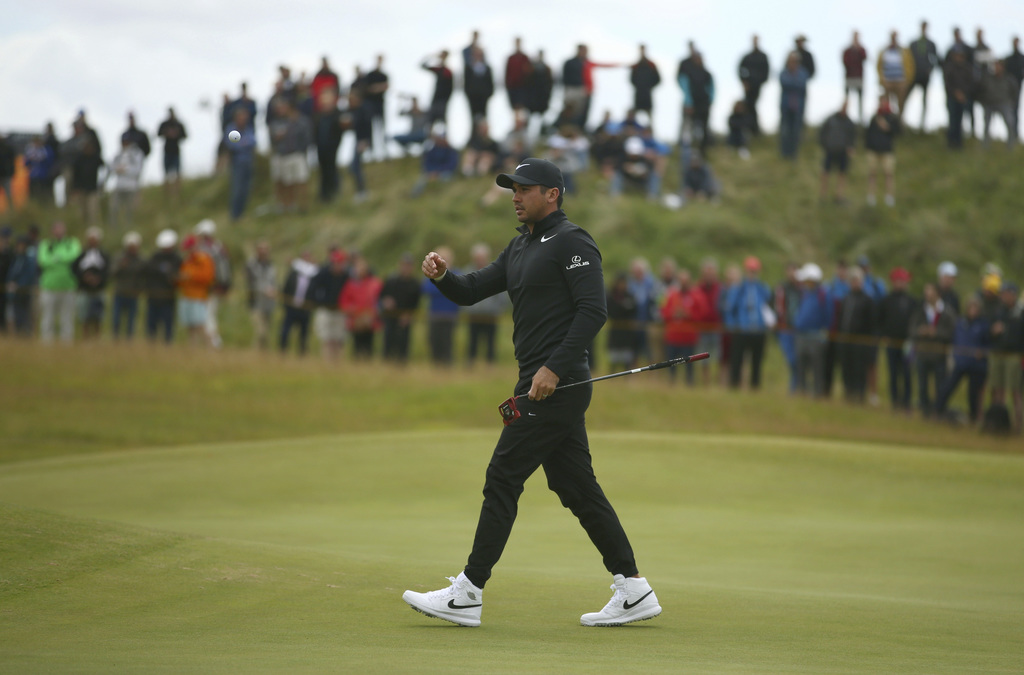 Australia's Jason Day after putting on the 4th green during the first round of the British Open Golf Championship, at Royal Birkdale, Southport, Engla...