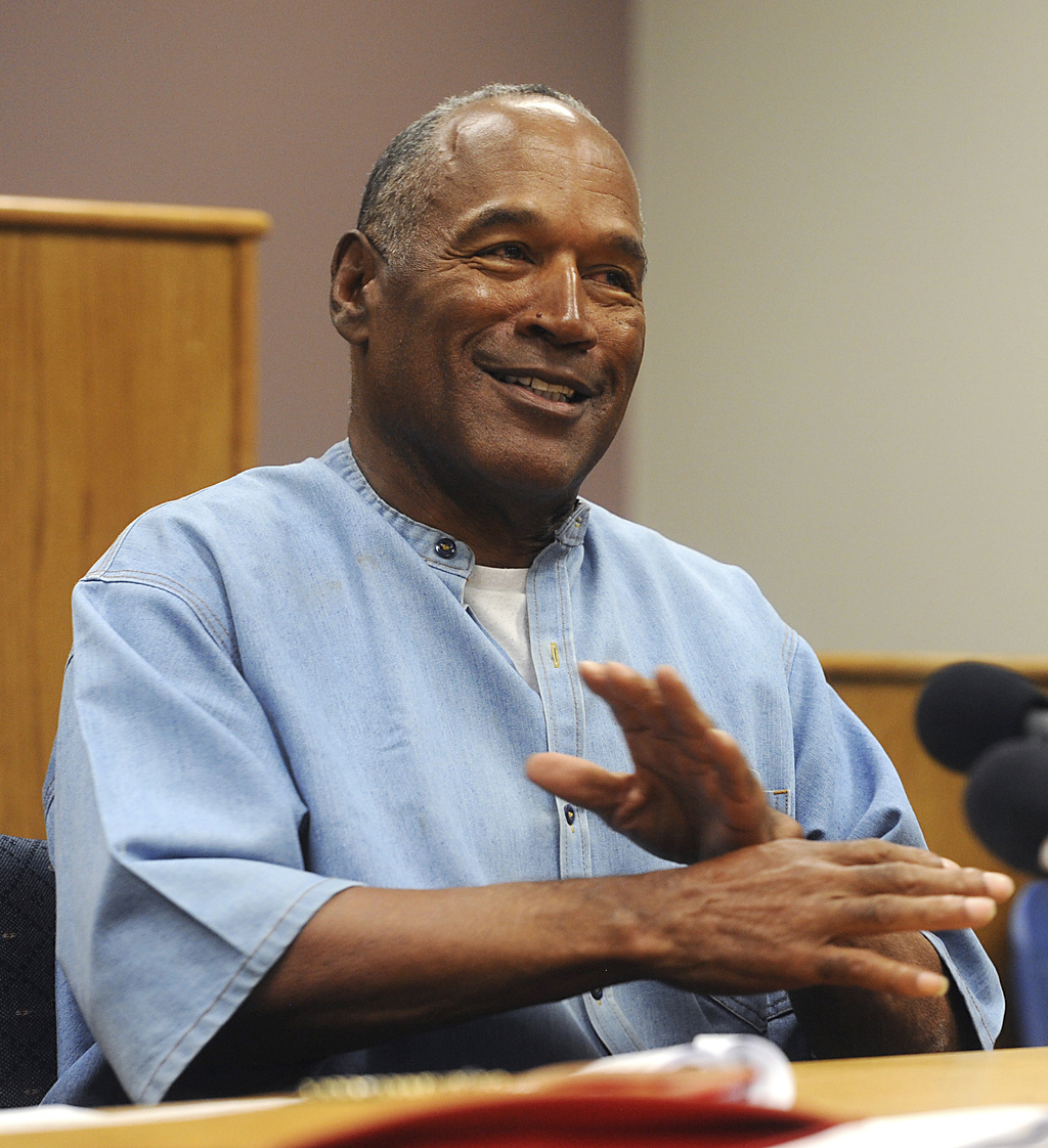 Former NFL football star O.J. Simpson attends his parole hearing at the Lovelock Correctional Center in Lovelock, Nev., on Thursday, July 20, 2017. Si...