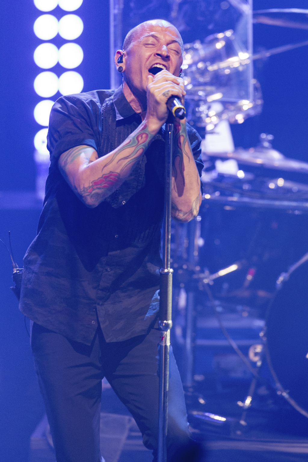 FILE - In this June 18, 2014 file photo, Chester Bennington of Linkin Park performs during the iHeartRadio Live Series in Burbank, Calif. The Los Ange...