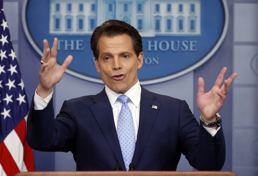 In this July 21, 2017 photo, White House communications director Anthony Scaramucci speaks to members of the media in the Brady Press Briefing room of...