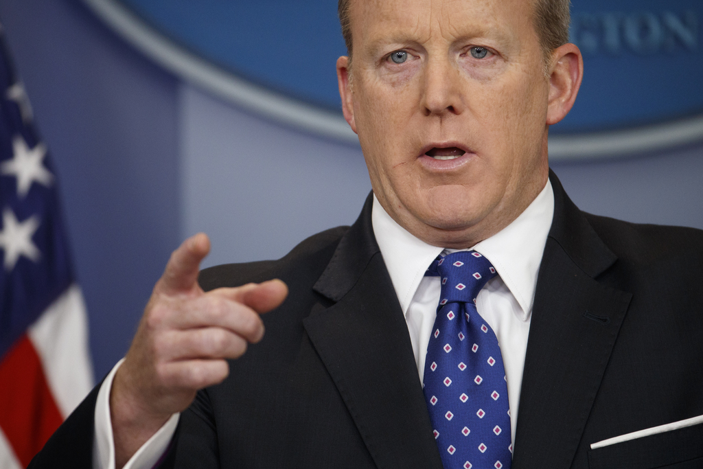 FILE - In this May 9, 2017, file photo, White House press secretary Sean Spicer speaks during the daily press briefing at the White House in Washingto...