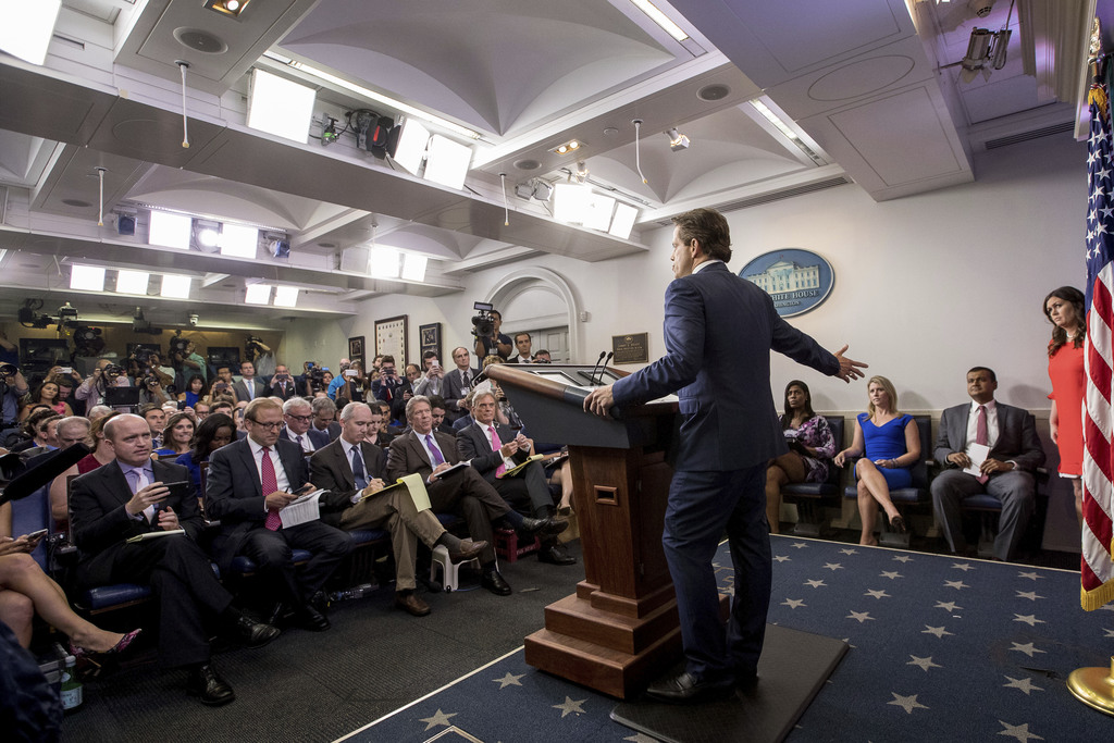 Anthony Scaramucci, incoming White House communications director, accompanied by newly appointed White House press secretary Sarah Huckabee Sanders, r...