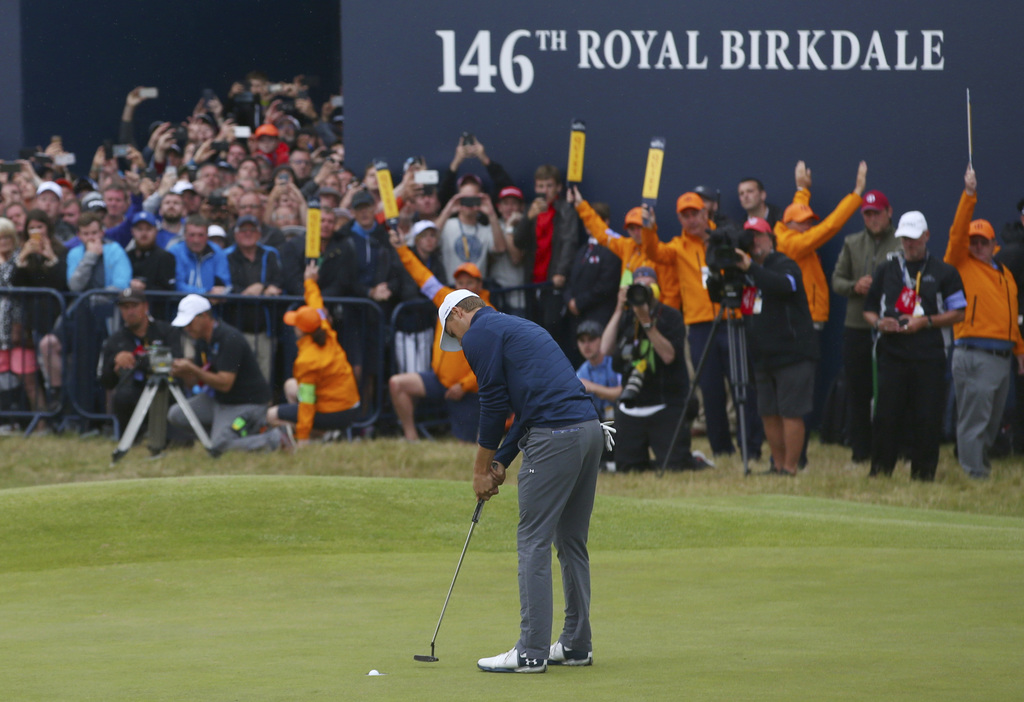 Jordan Spieth of the United States putts to win the British Open Golf Championship, at Royal Birkdale, Southport, England, Sunday July 23, 2017. (AP P...