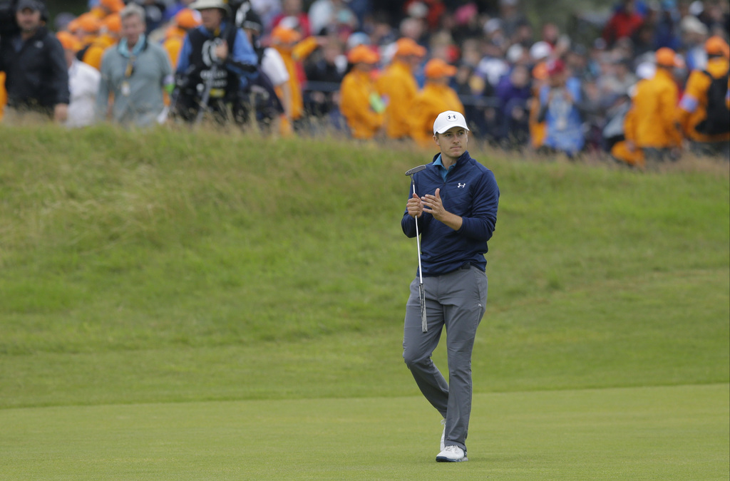 Jordan Spieth of the United States makes his way to the 18th green during the final round of the British Open Golf Championship, at Royal Birkdale, So...
